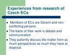 experiences from research of czech ecs