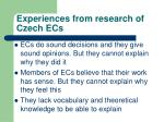 experiences from research of czech ecs1
