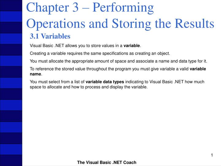 chapter 3 performing operations and storing the results n.