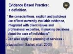evidence based practice a definition