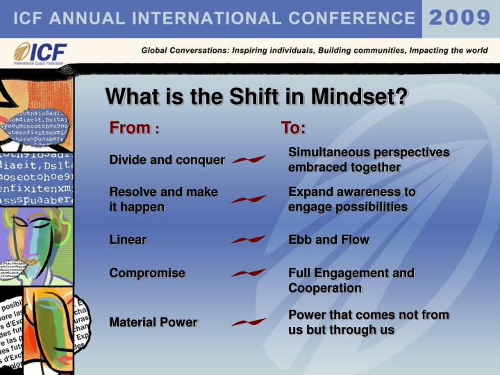 What is the Shift in Mindset?