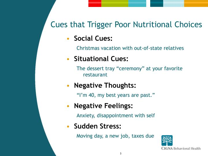 Cues that trigger poor nutritional choices