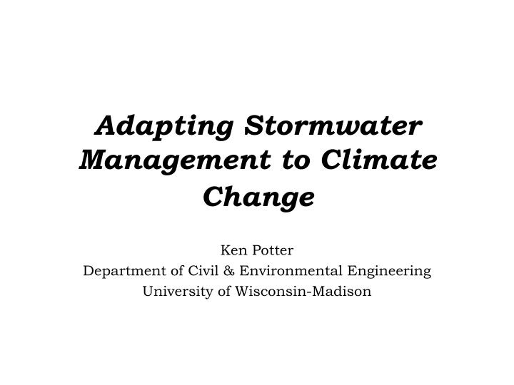 adapting stormwater management to climate change n.
