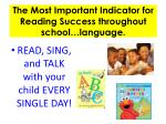 the most important indicator for reading success throughout school language