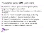 the rationale behind edm requirements