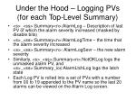under the hood logging pvs for each top level summary