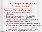 technologies for document management cont