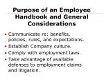 purpose of an employee handbook and general considerations