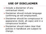 use of disclaimer