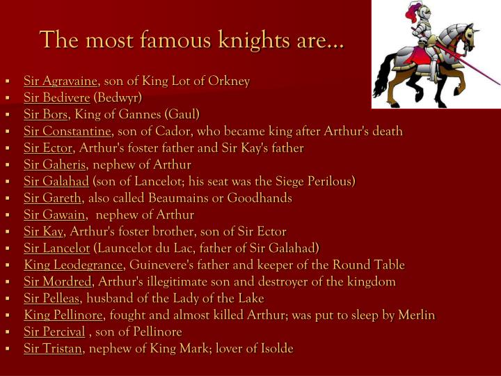 The most famous knights are…
