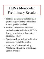 hires monocular preliminary results