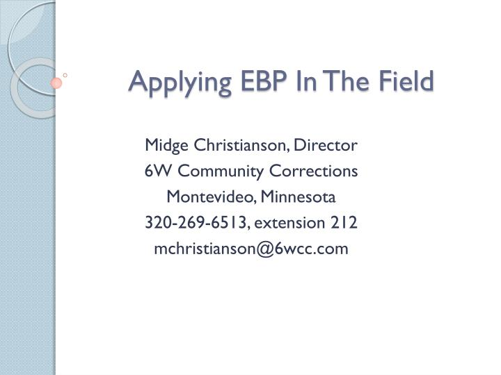 applying ebp in the field n.
