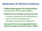 reallocation iii workforce initiatives