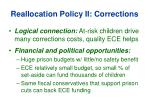 reallocation policy ii corrections