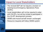 impact to local stakeholders