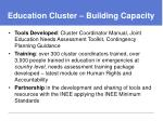 education cluster building capacity