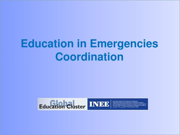 education in emergencies coordination n.