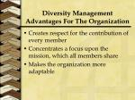 diversity management advantages for the organization1