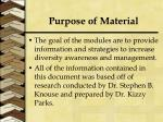 purpose of material