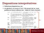 dispositions interpr tatives