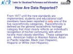 how are data reported