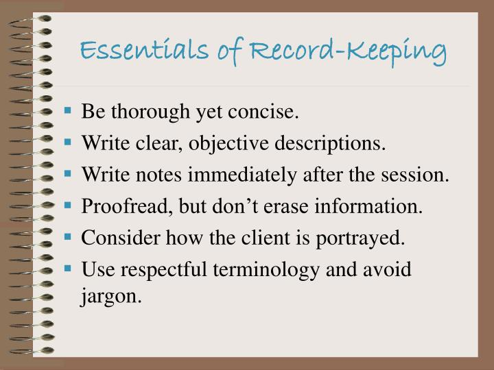 Essentials of Record-Keeping