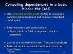 computing dependencies in a basic block the dag