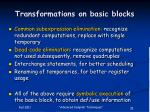 transformations on basic blocks