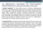 le principali tecniche di valutazione monetaria per la stima dei benefici e dei costi