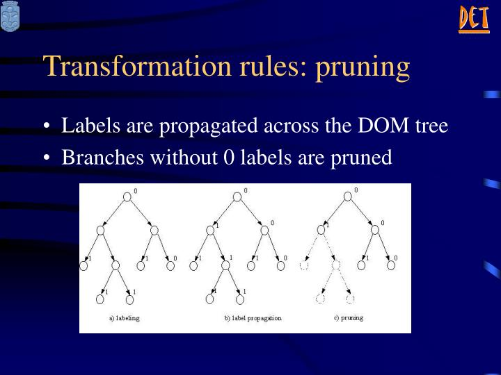 Transformation rules: pruning