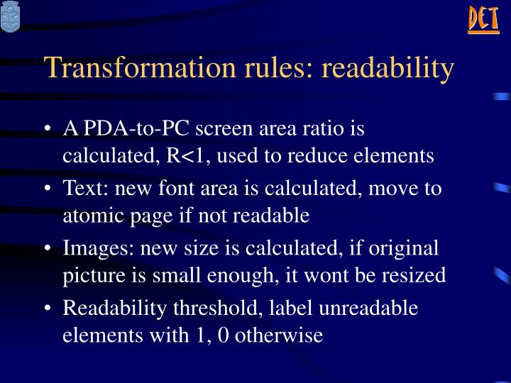 Transformation rules: readability