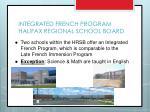 integrated french program halifax regional school board