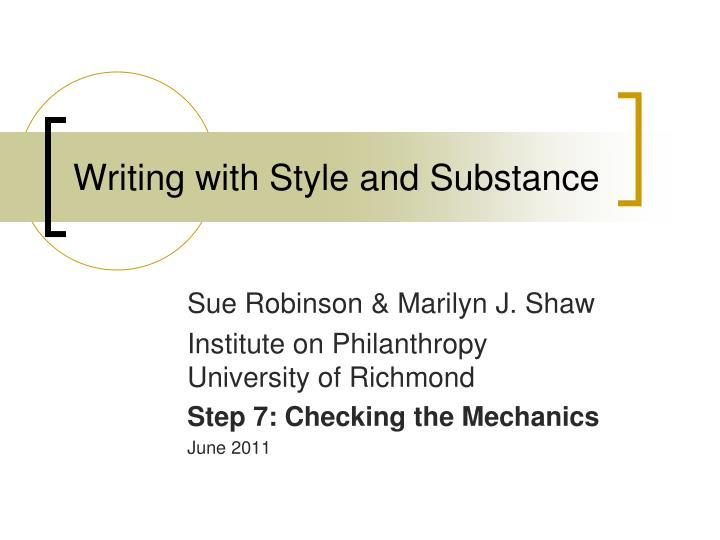 writing with style and substance n.