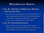 miscellaneous matters1