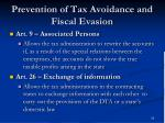 prevention of tax avoidance and fiscal evasion