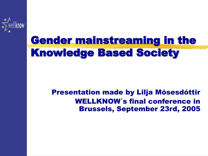 gender mainstreaming in the knowledge based society n.