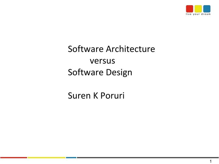 software architecture versus software design suren k poruri n.