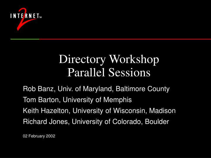 directory workshop parallel sessions n.