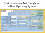 next generation net longhorn base operating system