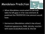 mendeleev prediction