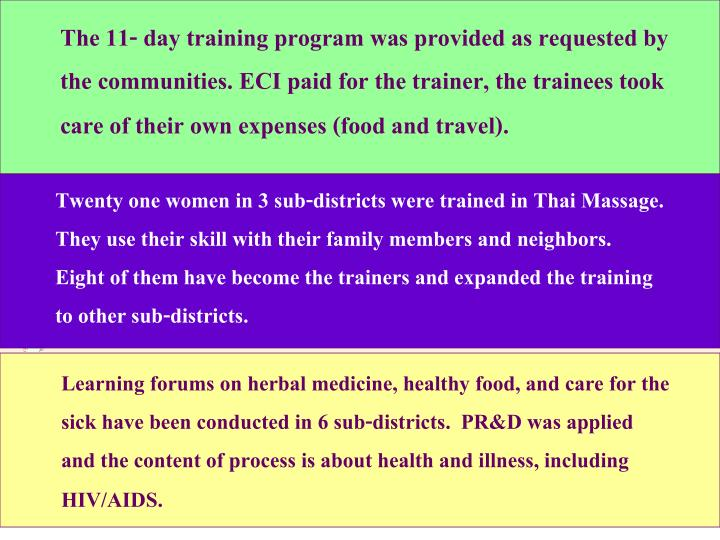 The 11- day training program was provided as requested by the communities. ECI paid for the trainer, the trainees took care of their own expenses (food and travel).
