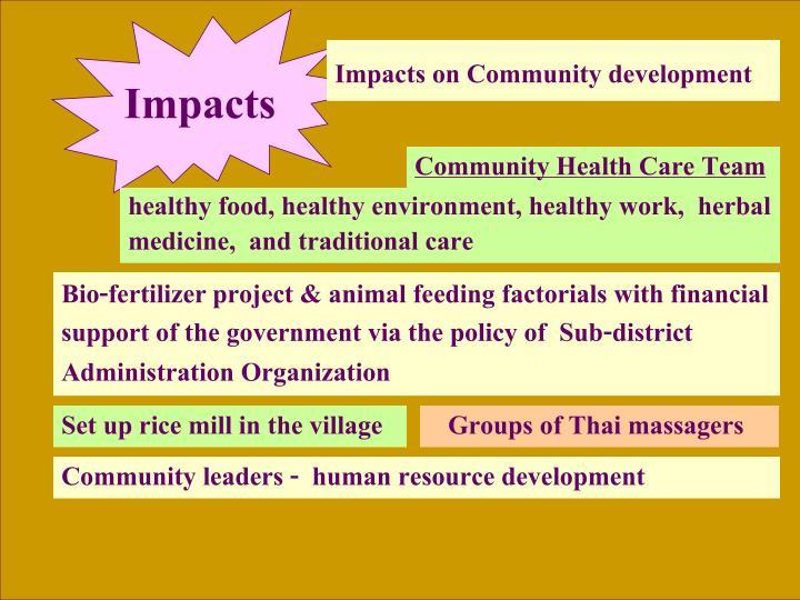 Impacts on Community development