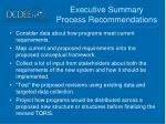 executive summary process recommendations