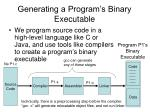 generating a program s binary executable