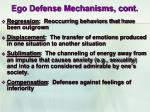 ego defense mechanisms cont
