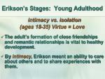 erikson s stages young adulthood