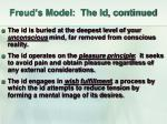 freud s model the id continued