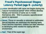 freud s psychosexual stages latency period age 6 puberty
