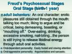 freud s psychosexual stages oral stage birth 1 year1