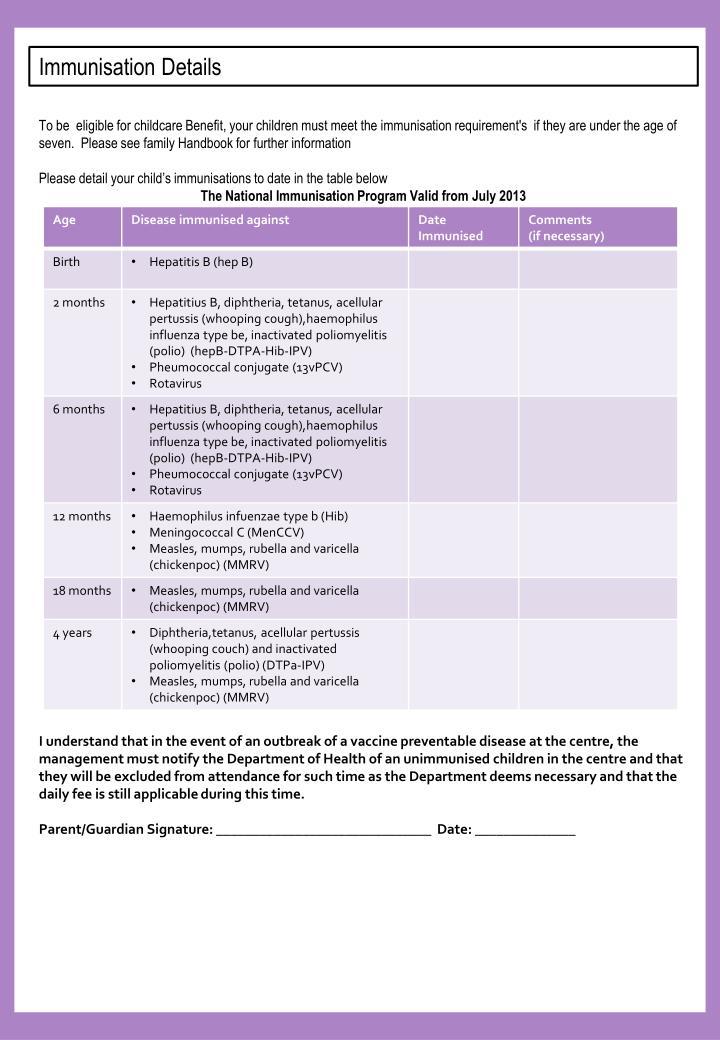 Immunisation Details